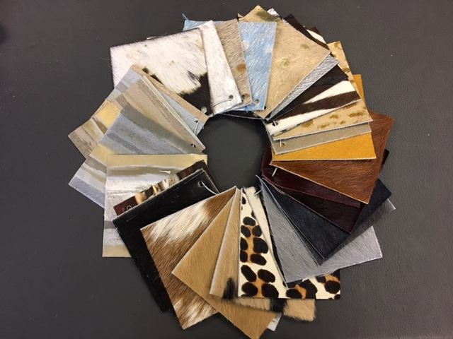 Leather samples from upholstery from Michael Talbert's