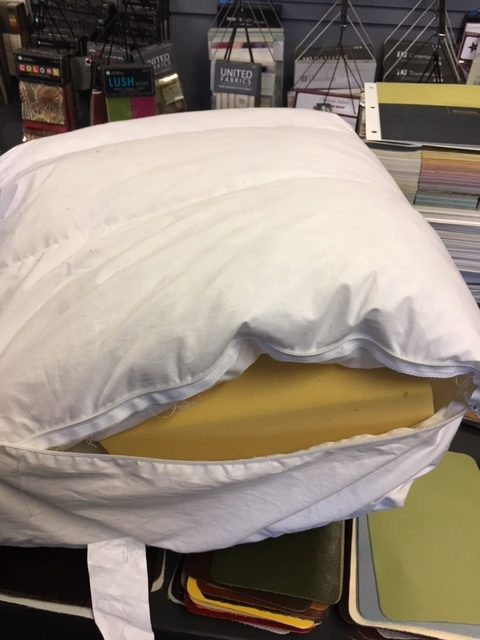 Down feather envelopes and foam cushion replacement