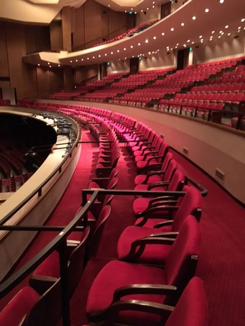 Red velvet theater upholstery for Keller Audiorium